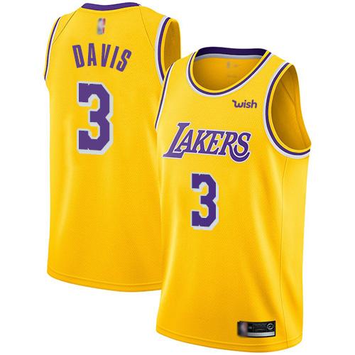Lakers #3 Anthony Davis Gold Basketball Swingman Icon Edition Jersey