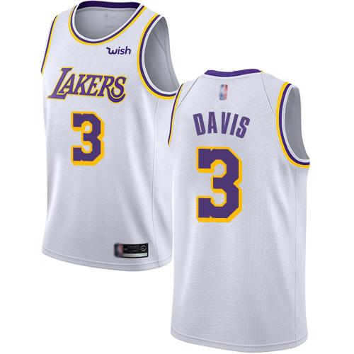 Lakers #3 Anthony Davis White Basketball Swingman Association Edition Jersey