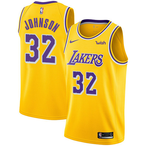 Lakers #32 Magic Johnson Gold Basketball Swingman Icon Edition Jersey