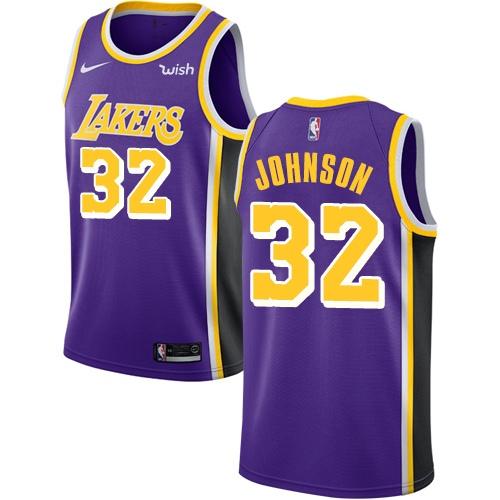 Lakers #32 Magic Johnson Purple Basketball Swingman Statement Edition Jersey