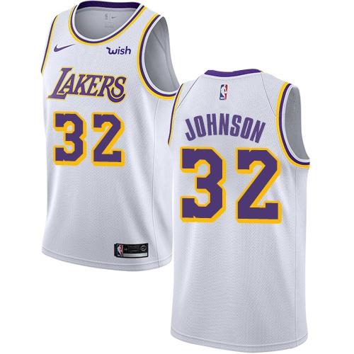 Lakers #32 Magic Johnson White Basketball Swingman Association Edition Jersey