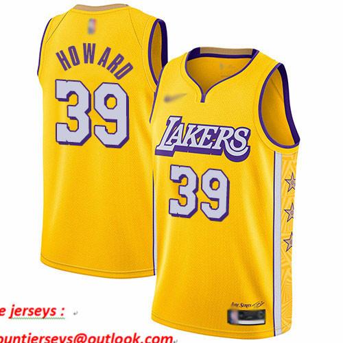 Lakers #39 Dwight Howard Gold Basketball Swingman City Edition 2019 20 Jersey