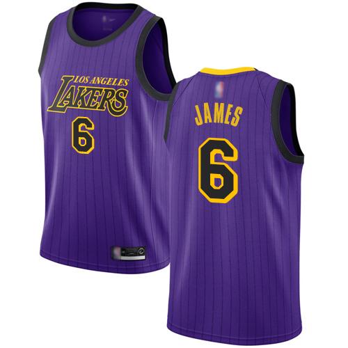 Lakers #6 LeBron James Purple Basketball Swingman City Edition 2018 19 Jersey