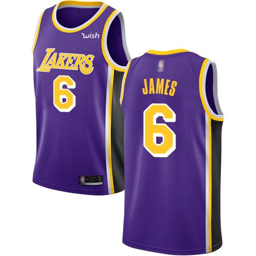 Lakers #6 LeBron James Purple Basketball Swingman Statement Edition Jersey