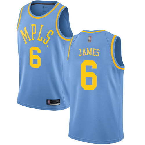Lakers #6 LeBron James Royal Blue Basketball Swingman Hardwood Classics Jersey