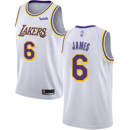 Lakers #6 LeBron James White Basketball Swingman Association Edition Jersey