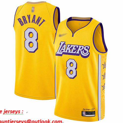 Lakers #8 Kobe Bryant Gold Basketball Swingman City Edition 2019 20 Jersey