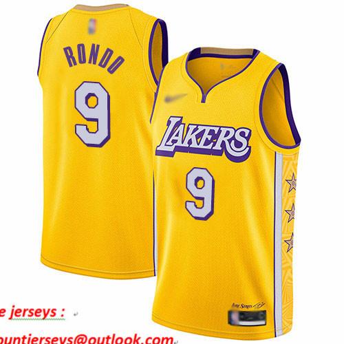 Lakers #9 Rajon Rondo Gold Basketball Swingman City Edition 2019 20 Jersey