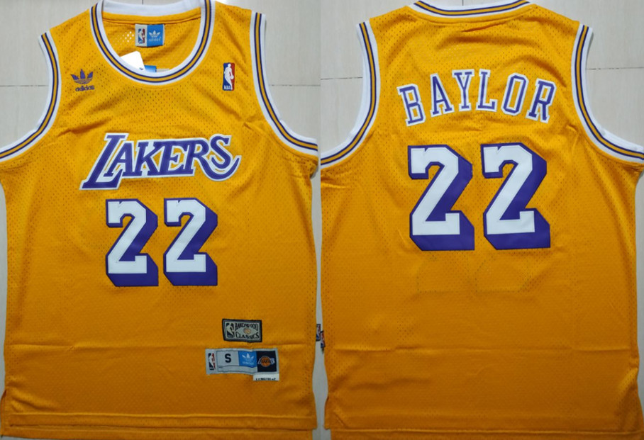 Lakers 22 Elgin Baylor Yellow Hardwood Classics Jersey