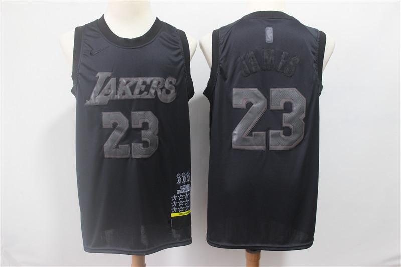 Lakers 23 Lebron James Black Nike Swingman MVP Jersey