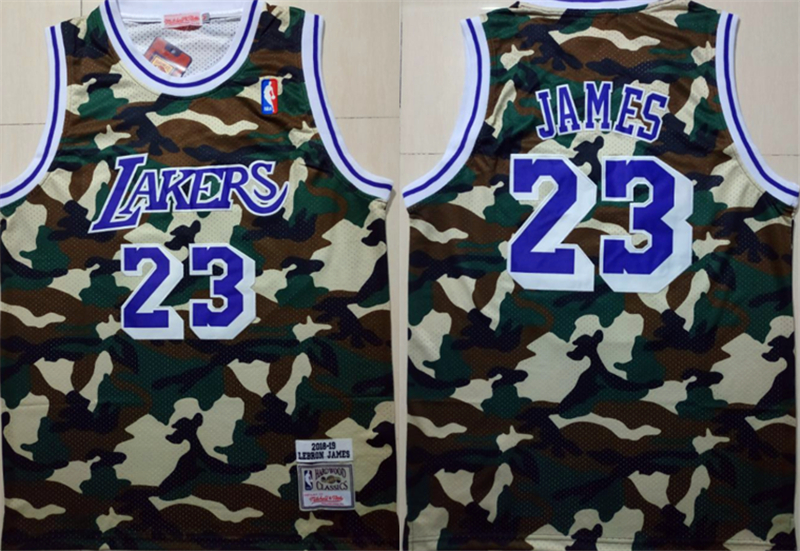 Lakers 23 Lebron James Camo 2018 19 Hardwood Classics Jersey