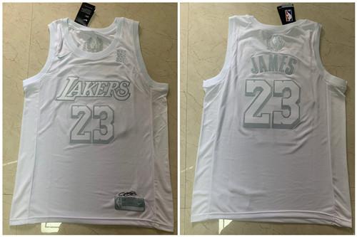 Lakers 23 Lebron James White Nike Swingman MVP Jersey