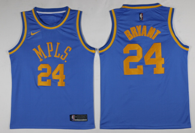 Lakers 24 Kobe Bryant Blue MPLS. Throwback Swingman Jersey