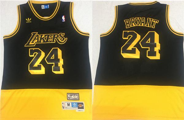 Lakers 24 Kobe Bryant Fluorescent Black Yellow Split Hardwood Classics Jersey