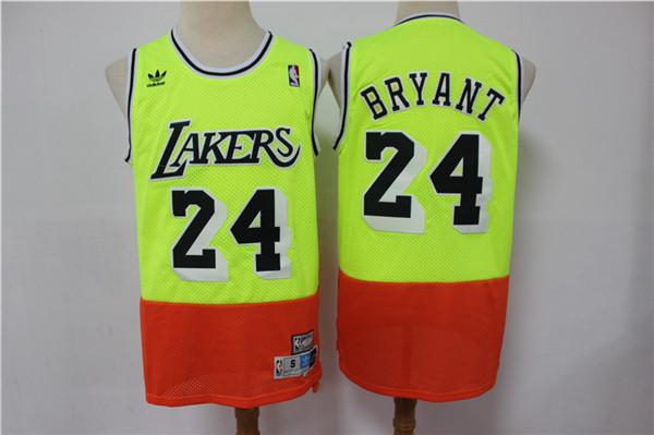Lakers 24 Kobe Bryant Fluorescent Green Orange Split Hardwood Classics Jersey