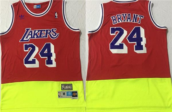 Lakers 24 Kobe Bryant Fluorescent Red Yellow Split Hardwood Classics Jersey