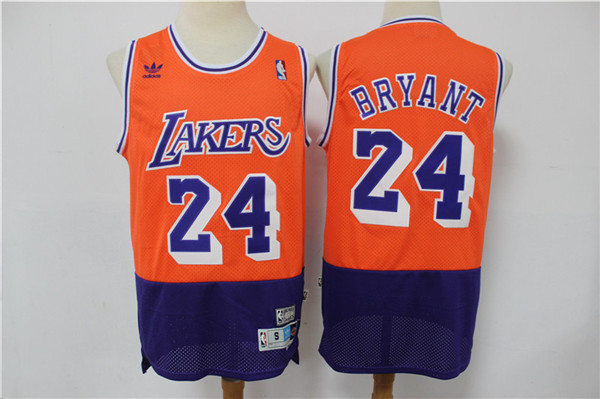 Lakers 24 Kobe Bryant Orange Navy Split Hardwood Classics Jersey
