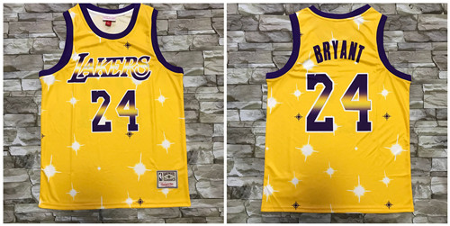 Lakers 24 Kobe Bryant Yellow Star Hardwood Classics Jersey