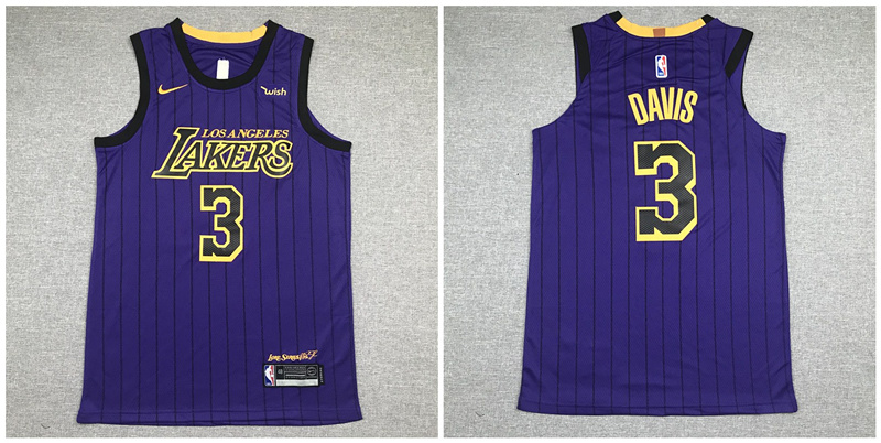 Lakers 3 Anthony Davis Purple Nike Authentic Jersey