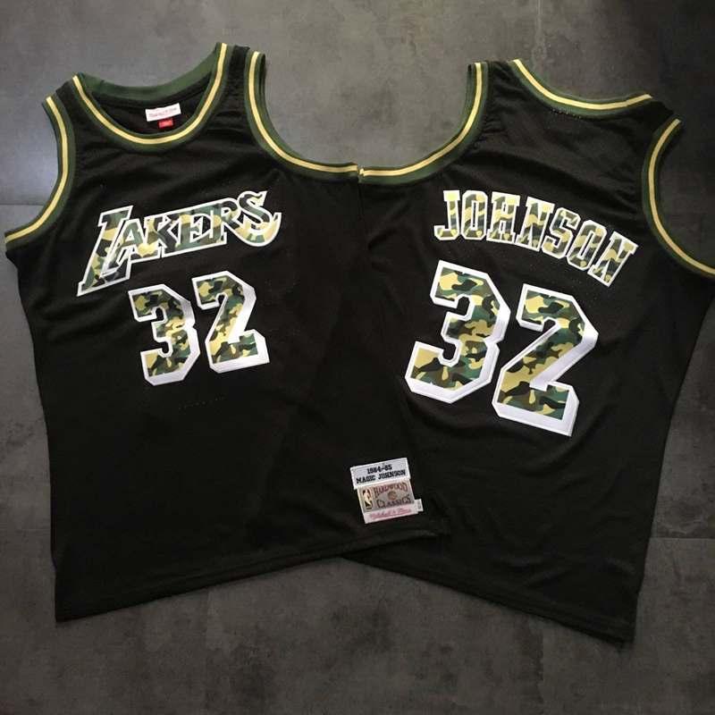 Lakers 32 Magic Johnson Black Camo 1984-85 Hardwood Classics Jersey