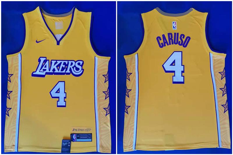 Lakers 4 Alex Caruso Yellow 2019-2020 Nike City Edition Swingman Jersey