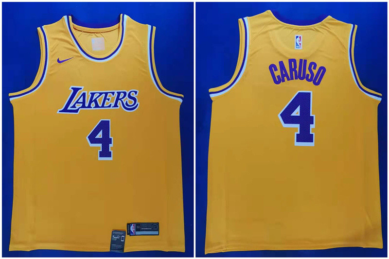 Lakers 4 Alex Caruso Yellow Nike City Edition Swingman Jersey
