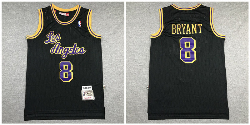 Lakers 8 Kobe Bryant Black 1996-97 Hardwood Classics Swingman Jersey