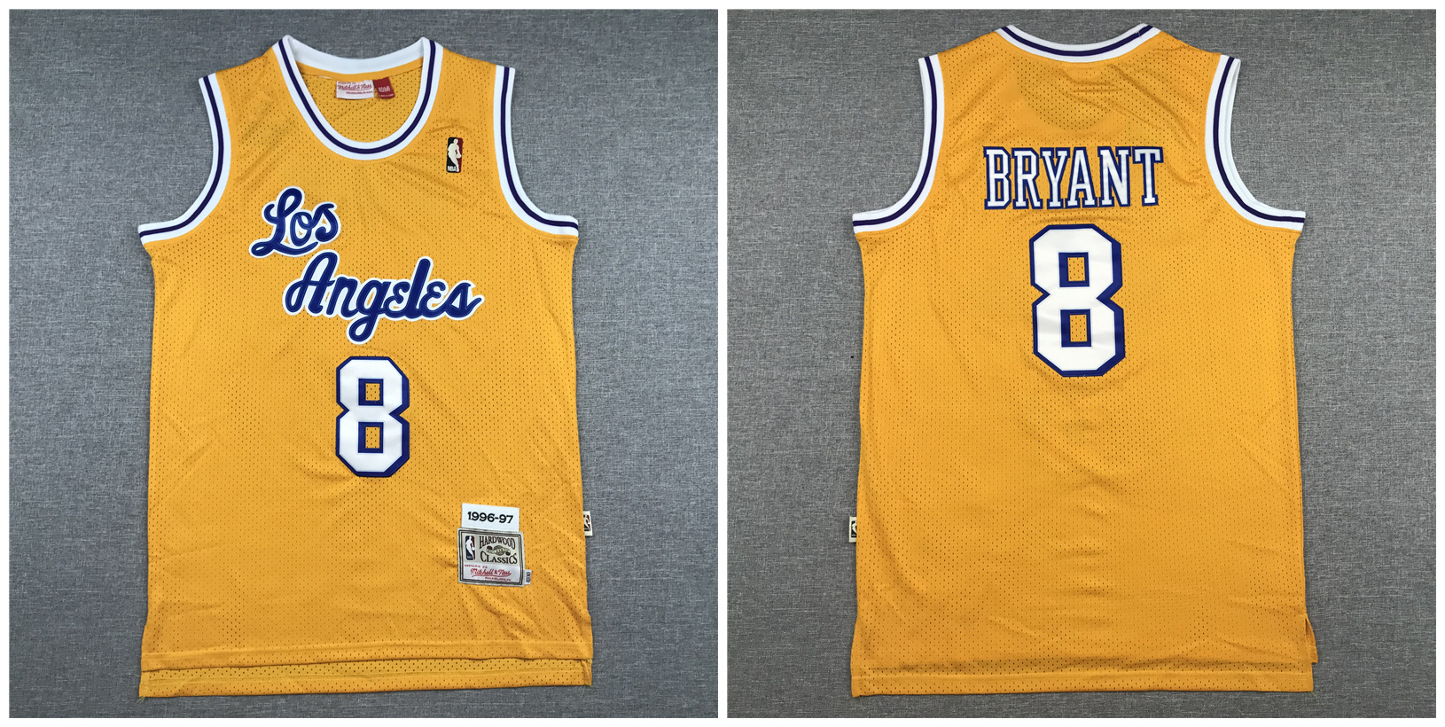 Lakers 8 Kobe Bryant Yellow 1996-97 Hardwood Classics Swingman Jersey