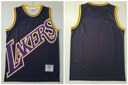 Lakers Big Face Black Hardwood Classics Swingman Jersey