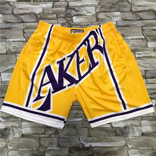 Lakers Yellow Big Face With Pocket Swingman Shorts