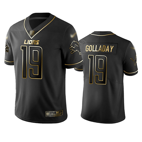 Lions #19 Kenny Golladay Black Men's Stitched Football Limited Golden Edition Jersey