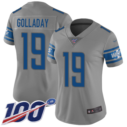 Lions #19 Kenny Golladay Gray Women's Stitched Football Limited Inverted Legend 100th Season Jersey