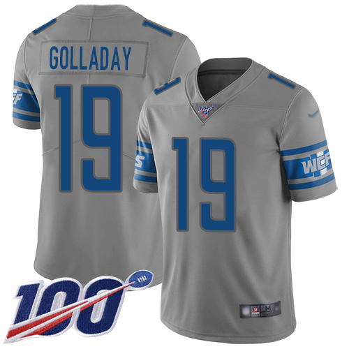 Lions #19 Kenny Golladay Gray Youth Stitched Football Limited Inverted Legend 100th Season Jersey