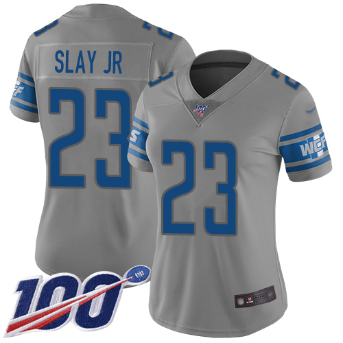 Lions #23 Darius Slay Jr Gray Women's Stitched Football Limited Inverted Legend 100th Season Jersey