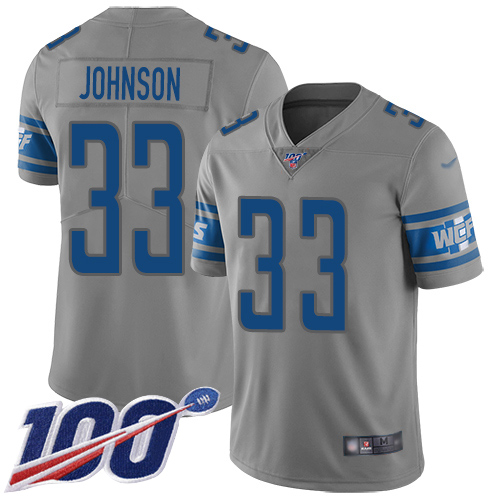 Lions #33 Kerryon Johnson Gray Youth Stitched Football Limited Inverted Legend 100th Season Jersey