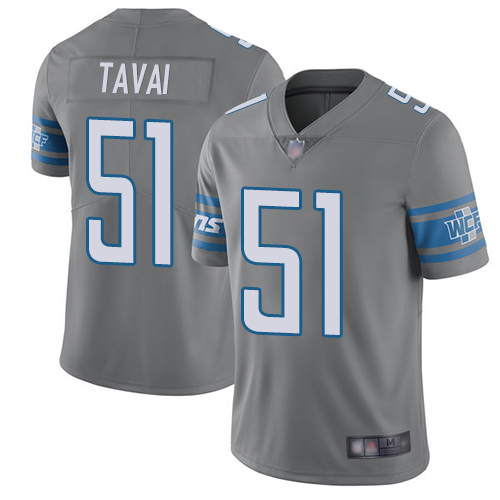Lions #51 Jahlani Tavai Gray Men's Stitched Football Limited Rush Jersey