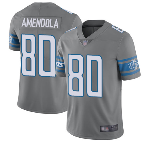 Lions #80 Danny Amendola Gray Men's Stitched Football Limited Rush Jersey