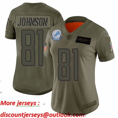 Lions #81 Calvin Johnson Camo Women's Stitched Football Limited 2019 Salute to Service Jersey