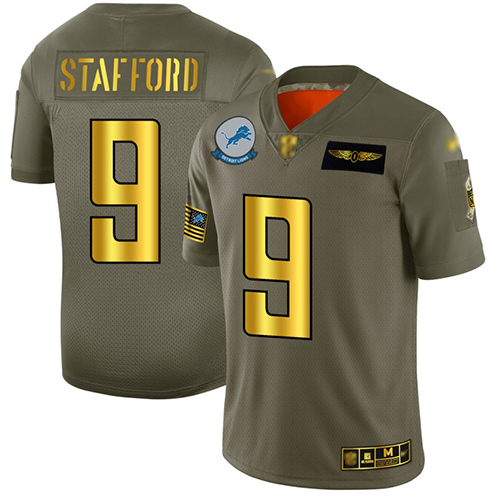 Lions #9 Matthew Stafford Camo Gold Men's Stitched Football Limited 2019 Salute To Service Jersey