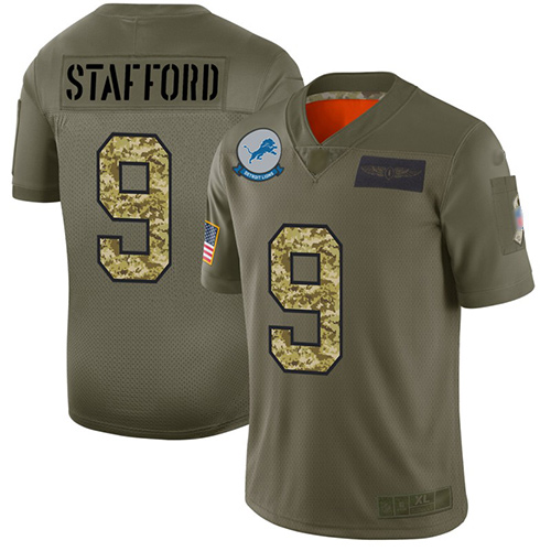 Lions #9 Matthew Stafford Olive Camo Men's Stitched Football Limited 2019 Salute To Service Jersey