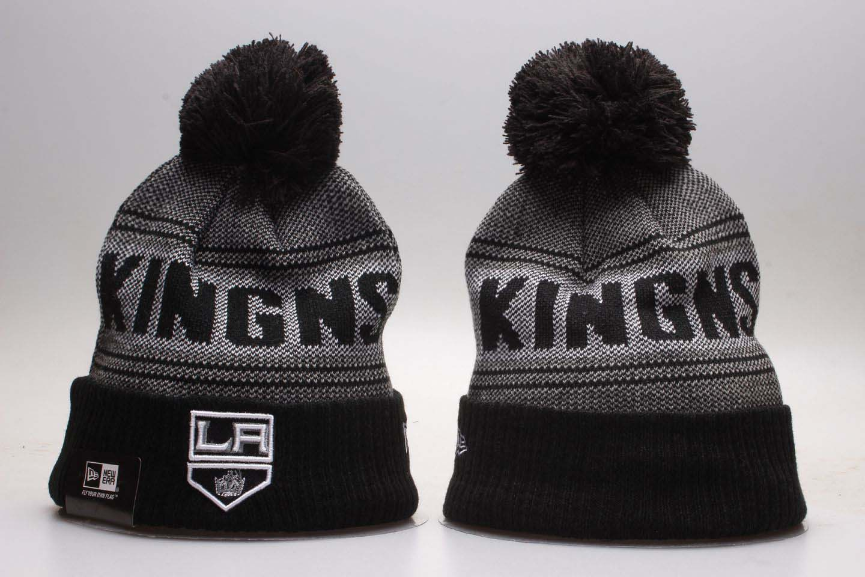 Los Angeles Kings Black Mascot Cuffed Pom Knit Hat YP