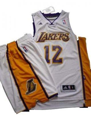 Los Angeles Lakers 12# Dwight Howard White Revolution 30 Swingman NBA Jersey & Shorts Suit