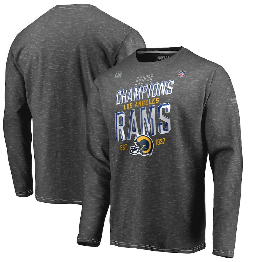 Los Angeles Rams NFL Pro Line By Fanatics Branded 2018 NFC Champions Trophy Collection Locker Room Long Sleeve T-Shirt Heather Charcoal