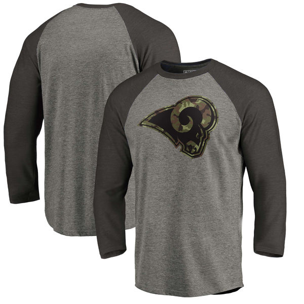 Los Angeles Rams NFL Pro Line By Fanatics Branded Black Gray Tri Blend 34-Sleeve T-Shirt