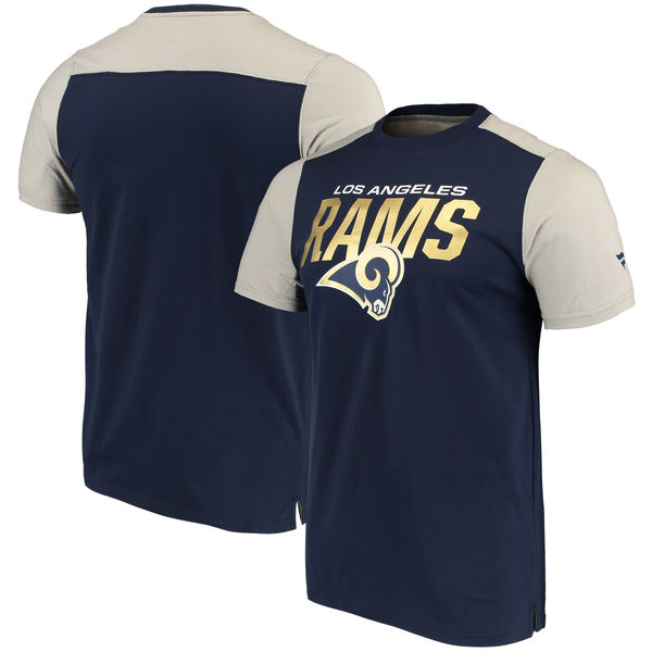 Los Angeles Rams NFL Pro Line By Fanatics Branded Iconic Color Blocked T-Shirt Navy Gray