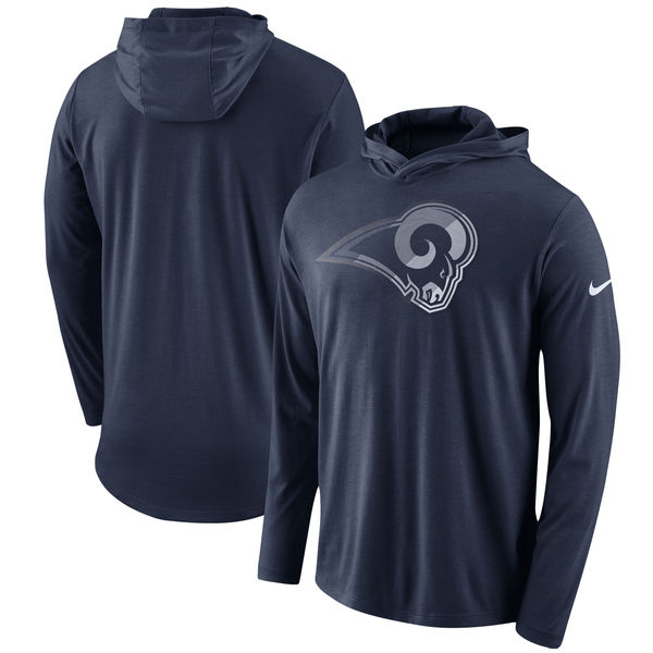 Los Angeles Rams Nike Blend Performance Hooded Long Sleeve T-Shirt Navy