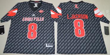 Louisville Cardinals 8 Lamar Jackson Black College Football Jersey