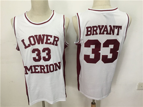 Lower Merion Aces 33 Kobe Bryant White High School Mesh Basketball Jersey