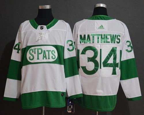 Maple Leafs #34 Auston Matthews White Authentic St. Pats Stitched Hockey Jersey