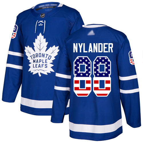 Maple Leafs #88 William Nylander Blue Home Authentic USA Flag Stitched Youth Hockey Jersey